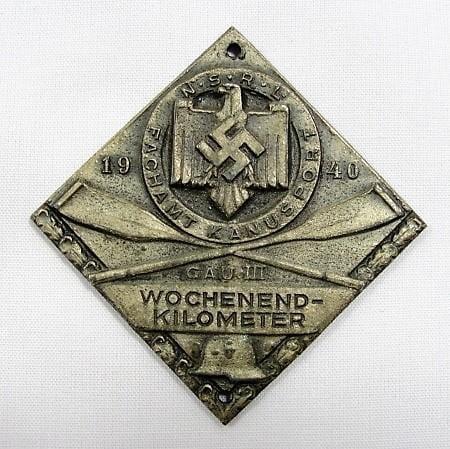 1940 NSRL FACHAMT KANUSPORT Table Medal Prize, Silver Medal