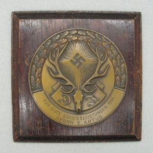 1935 German Hunting Association DJ 3rd Place Prize Plaque Named