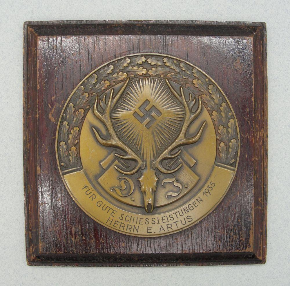 1935 German Hunting Association DJ 3rd Place Prize Plaque Named