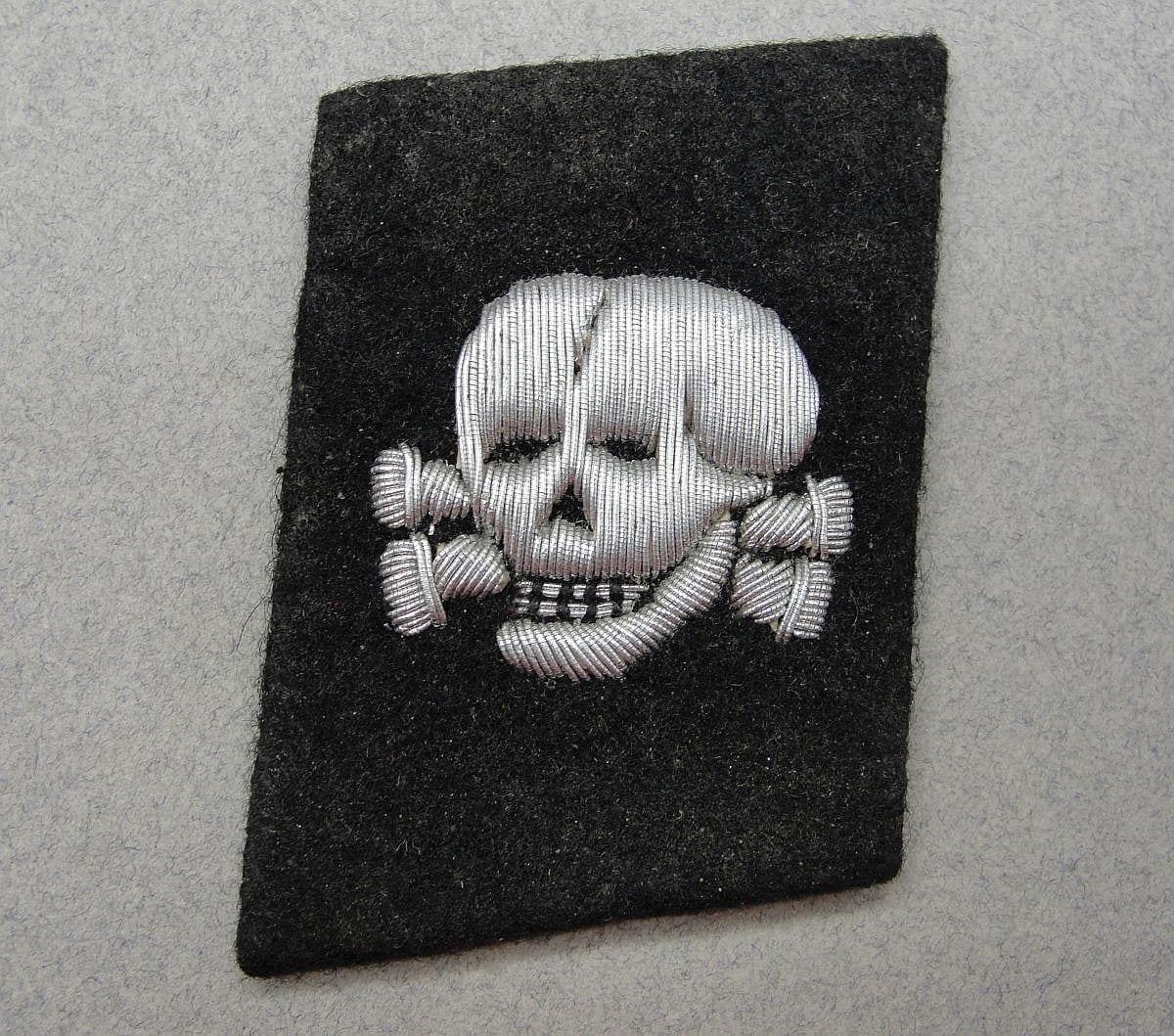 SS Totenkopfvervände (Death Head Units) Skull Collar Tab with SS/RZM Tag