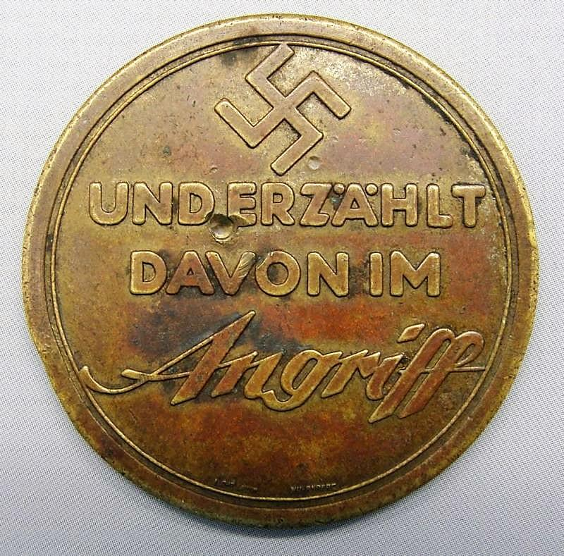 1934 A Nazi Travels to Palestine - And tells about it in Angriff Medal by Lauer