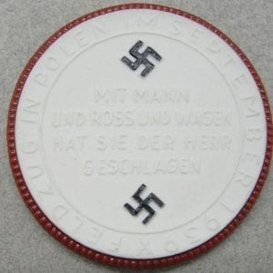 Meissen Medallion, - Danzig is German!  / Battle in Poland