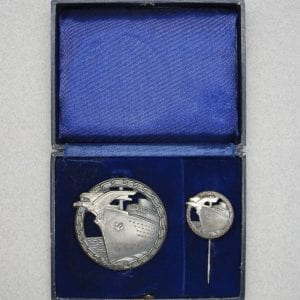 Cased Kriegsmarine Blockade Runners Badge with Miniature by Schwerin