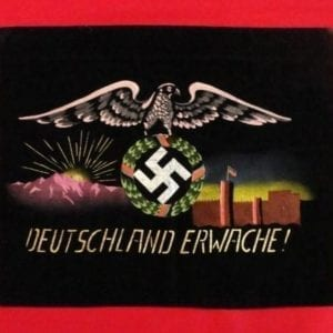 "Early NSDAP ""DEUTSCHLAND ERWACHE!"" Decorative Velveteen Propaganda Piece"