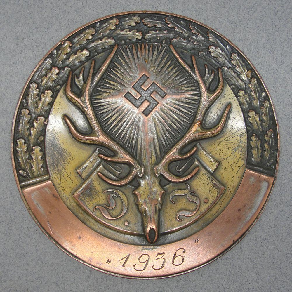 "1936 German Hunting Association ""Deutsche Jägerschaft"" Bronze Grade Plaque"