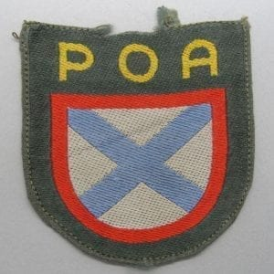 """Bevo """"POA"""" Russian Army of Liberation Foreign Volunteer Shield, Tunic-Removed"""