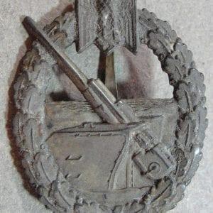 Kriegsmarine Coastal Artillery Badge by Juncker w/ Original Owner Writing on Rev