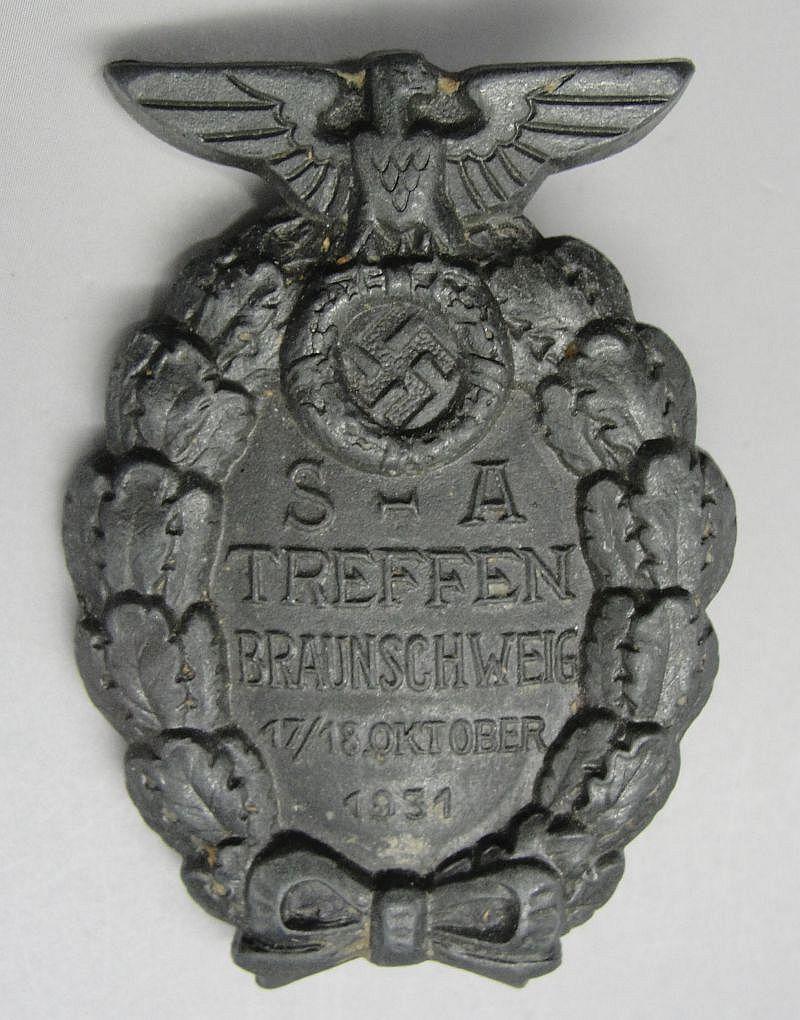 """1931 SA-TREFFEN BRAUNSCHWEIG Badge by """"RZM M1/17"""""""