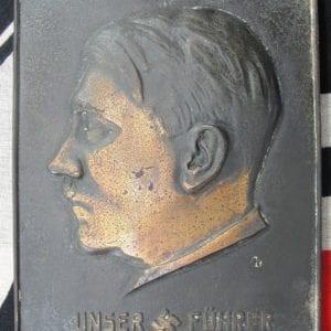 Adolf Hitler UNSER FÜHRER Profile Plaque
