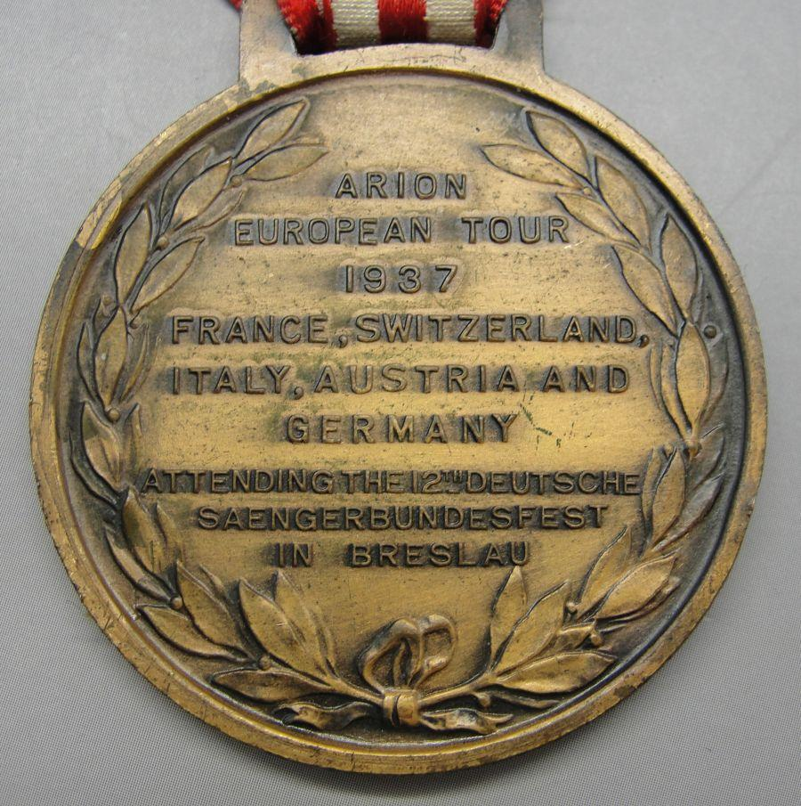 1937 Brooklyn Arion Society Attending German Breslau Festival Medal