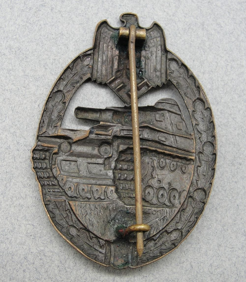 Early Panzer Assault Badge, Bronze Grade by Wurster, Hollowback Version
