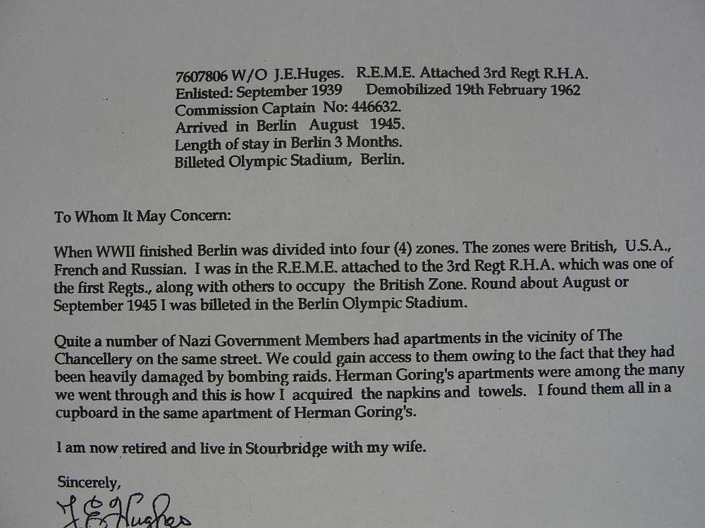 Napkin From Hermann Göring's Berlin Apartment with Vet Documentation