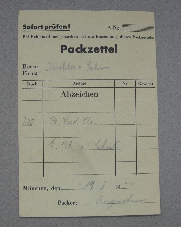 Deschler Factory Packing List