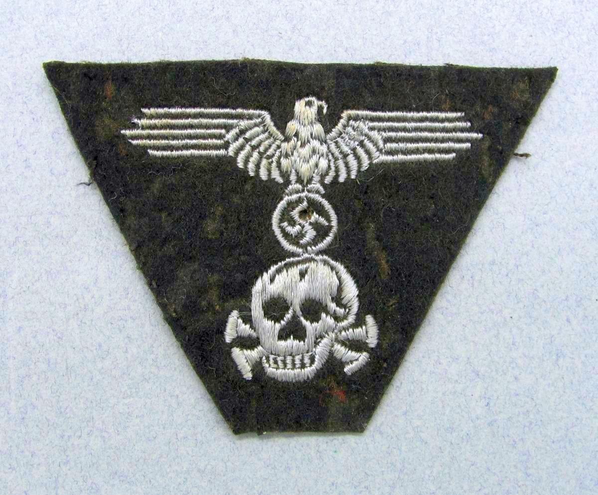 "Waffen-SS Panzer M43 Trapezoid Cap Insignia, ""Pirate Skull"