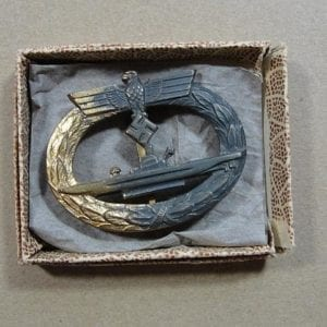 Boxed Kriegsmarine U-Boat Badge, French Made by Baqueville