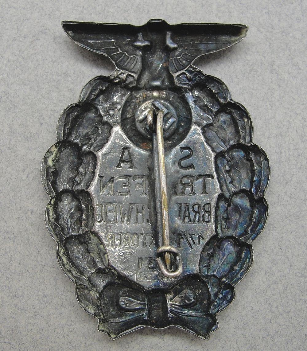 """1931 SA-TREFFEN BRAUNSCHWEIG Badge, marked """"RZM GES GESCH"""", Magnetic!"""