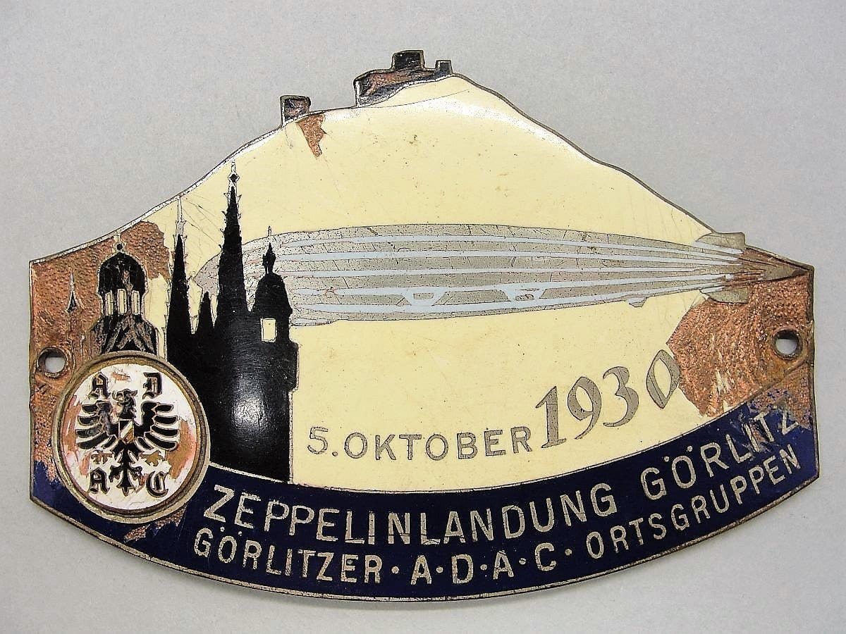 1930 Zeppelin Airship Landing at Görlitz Enamel Plaque
