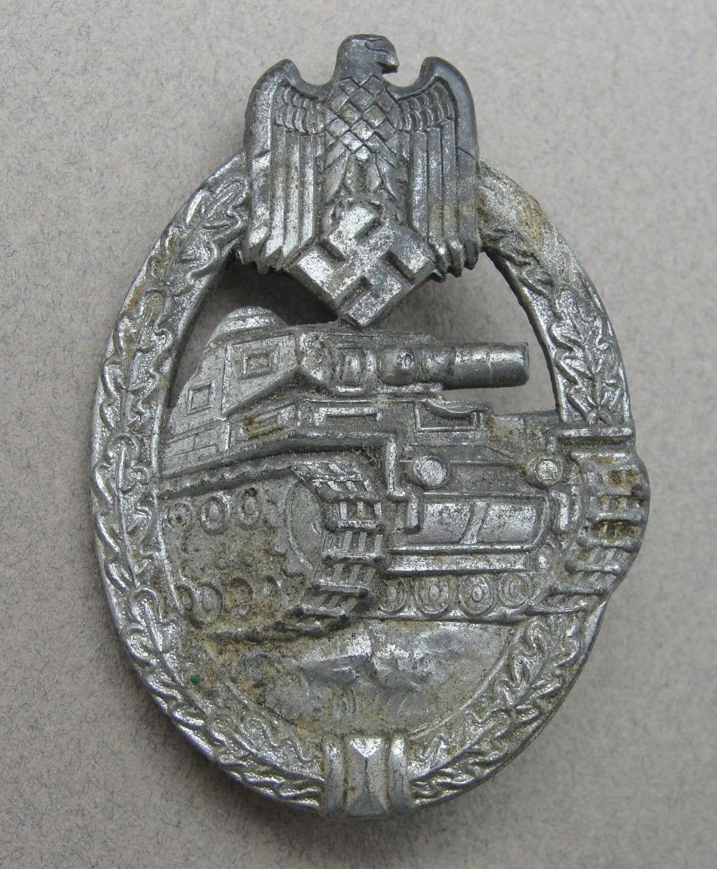 Army/Waffen-SS Panzer Assault Badge, Silver Grade, Flatback Version