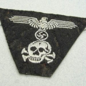 "Waffen-SS Panzer M43 Trapezoid Cap Insignia, ""Pirate Skull"" Version, Cap Removed"
