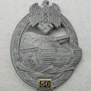 "Special Grade Bronze 50 Numbered Panzer Assault Badge by ""G.B."""