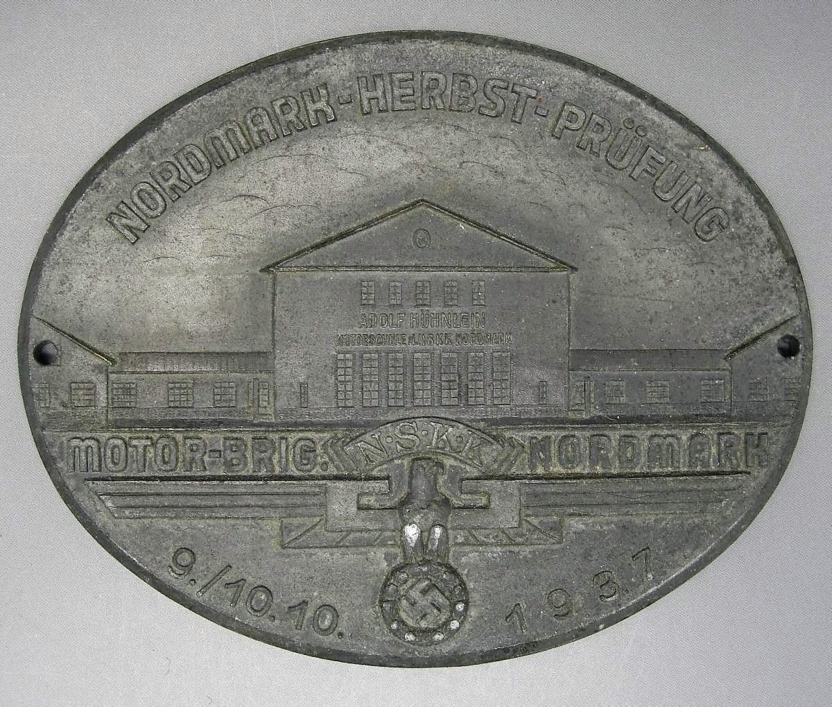 1937 NSKK Motor Brigade Nordmark Adolf Hitler School Table Medal