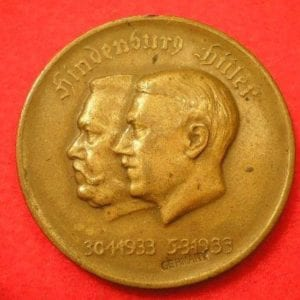 Hitler and Hindenburg Unity Table Medal, Export Marked