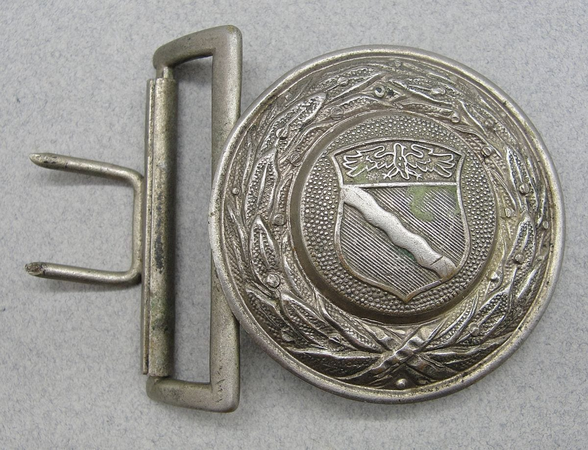 Third Reich Rhineland Fire Police Officer's Belt Buckle