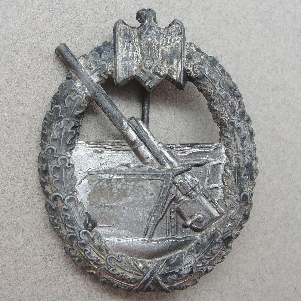 Kriegsmarine Coastal Artillery Badge by Hermann Aurich