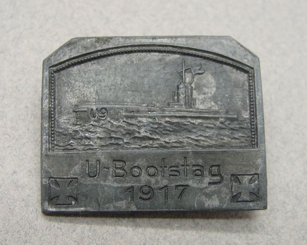 U-Boat U-9 1917 Event Badge by Deschler