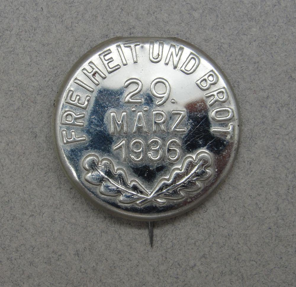 1936 NSDAP Election Badge- Freedom and Bread