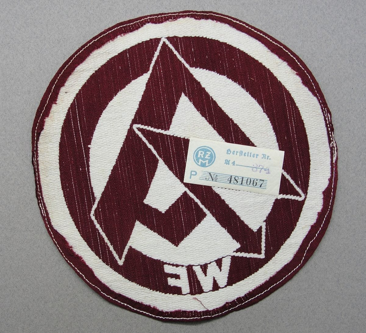 "SA Sports Shirt Patch for District ""WF"" with RZM Tag"